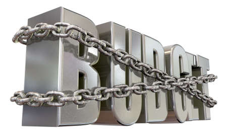 restraints: The word budget in extruded metal bound by metal chains for budget restraints on an isolated background Stock Photo
