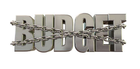 The word budget in extruded metal bound by metal chains for budget restraints on an isolated background Stock Photo - 16836795