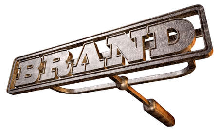 brand: A metal cattle brand with the word brand as the marking area on an isolated background
