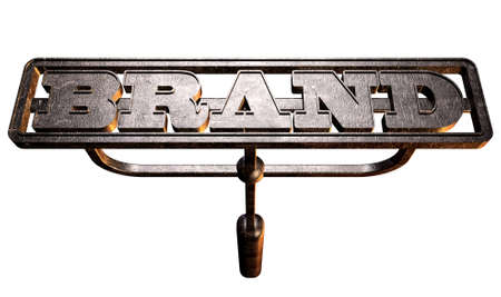 A metal cattle brand with the word brand as the marking area on an isolated background photo