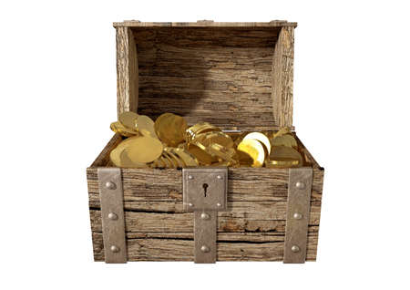 treasure trove: An old classic wood and iron open treasure chest with a metal lock filled with gold coins on an isolated background Stock Photo