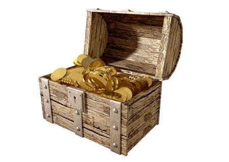 cofre del tesoro: Un viejo cl�sico de madera y hierro tesoro pecho abierto con un bloqueo de metal lleno de monedas de oro en un fondo aislado