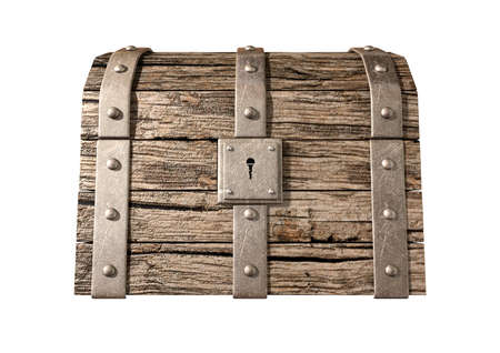 An old classic wood and iron closed treasure chest with a metal lock on an isolated background Stock Photo - 16935648