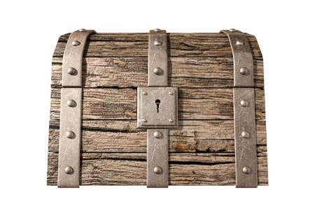 cofre del tesoro: Un viejo cl?sico de madera y caja de hierro cerrada con un candado tesoro de metal en un fondo aislado