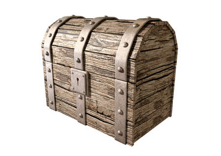 treasure trove: An old classic wood and iron closed treasure chest with a metal lock on an isolated background