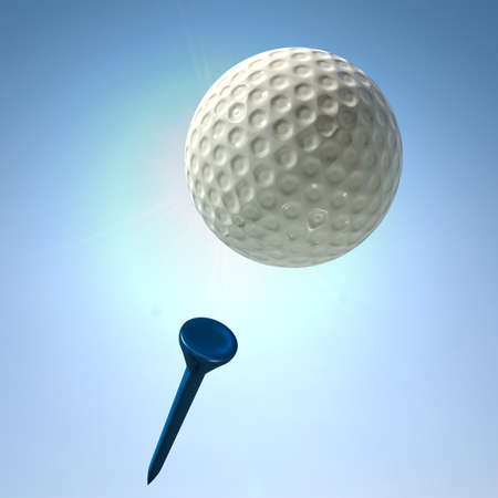 struck: An closeup view of a regular golf ball in flight after being struck off a blue golf tee on a blue sky background Stock Photo