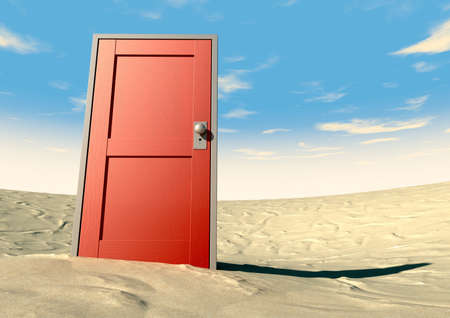 A closed wooden door painted red with a metal frame in a sandy desert with blue sky Stock Photo - 17120292