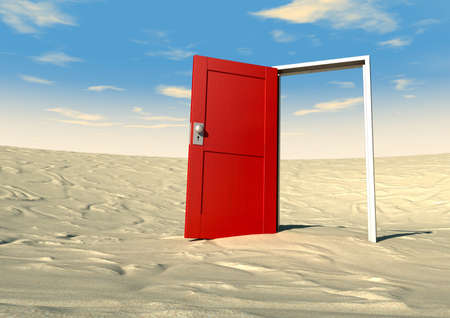 blue door: An open wooden door painted red with a metal frame in a sandy desert with blue sky