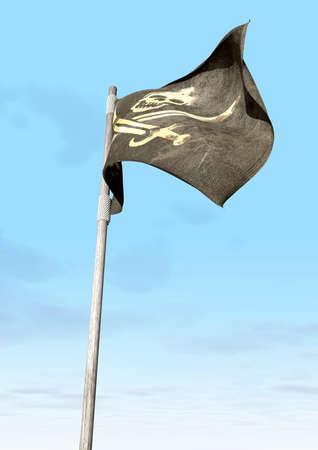 drapeau pirate: Un habitu� jolly roger drapeau de pirate avec un cr�ne et des coutelas sur un fond noir attach� � un poteau en bois sur un fond de ciel bleu