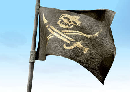 A regular jolly roger pirate flag with a skull and cutlasses on a black background attached to a wooden pole on a blue sky background photo