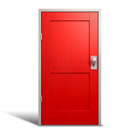 A regular wooden door painted red with a metal frame on an isolated background photo