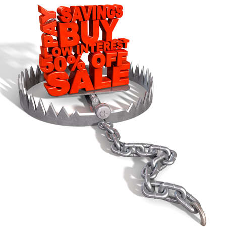 An open metal animal trap with the extruded red letters signifying  a debt trap on an isolated background Stock Photo - 17207564