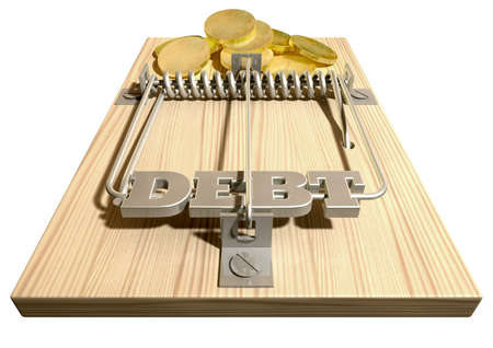 A regular wood and metal mouse trap with coins as bait and springbar with the word debt on it on an isolated background Stock Photo - 17207577