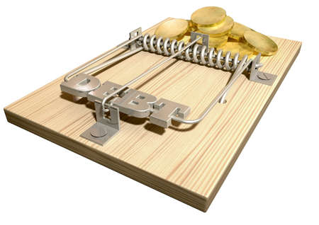 A regular wood and metal mouse trap with coins as bait and springbar with the word debt on it on an isolated background Stock Photo - 17207578