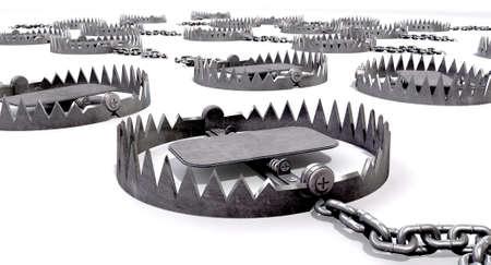 Una colección de azar establecidos trampas metálicas animales fijada en el suelo con cadenas de metal en un fondo aislado Foto de archivo