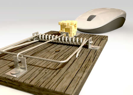 A regular wood and metal mousetrap baited with a depiction of a block of cheese in pixels being looked at by a white computer mouse on an isolated background  Stock Photo - 17236234