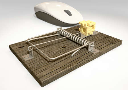 A regular wood and metal mousetrap baited with a depiction of a block of cheese in pixels being looked at by a white computer mouse on an isolated background  Stock Photo - 17236235