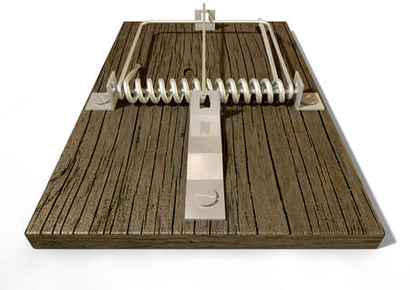 entice: A regular wood and metal mousetrap on an isolated background