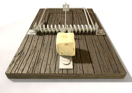 baited: A regular wood and metal mousetrap baited with a block of cheese on an isolated background