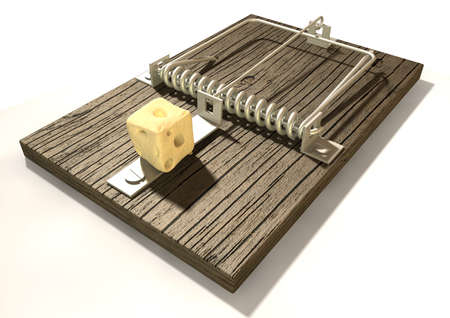 A regular wood and metal mousetrap baited with a block of cheese on an isolated background  Stock Photo - 17236239