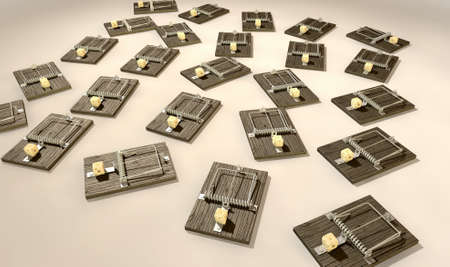 baited: A array of regular wood and metal mousetraps each baited with a block of cheese on an isolated background