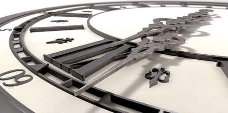 orologi antichi: Un estremo primo piano di un antico orologio con numeri romani e lancette di metallo ornate su uno sfondo isolato