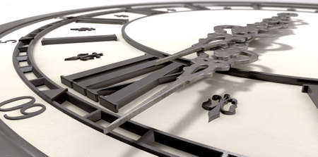 reloj antiguo: Un primer extremo de un reloj antiguo con números romanos y las manos adornadas de metal sobre un fondo aislado Foto de archivo