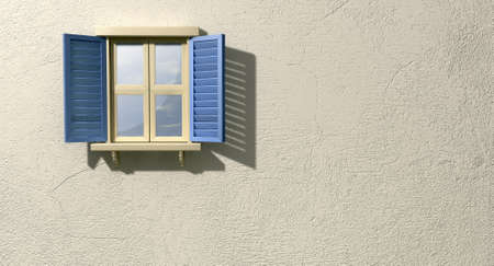 louvered: A regular wooden framed window with blue shutters on an isolated plastered wall