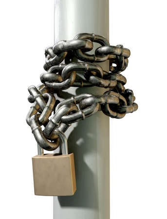 A regular metal chain wrapped around a pole with the ends secured with a padlock on an isolated background photo