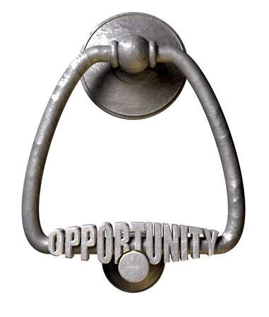 puerta de metal: Un golpeador de puerta de metal con la palabra oportunidad extruido en ella en un fondo aislado Foto de archivo