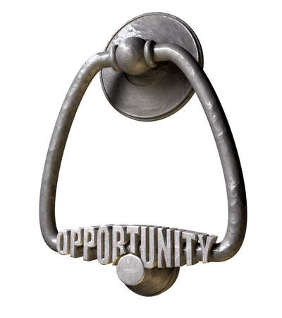 knocker: A metal door knocker with the word opportunity extruded on it on an isolated background Stock Photo