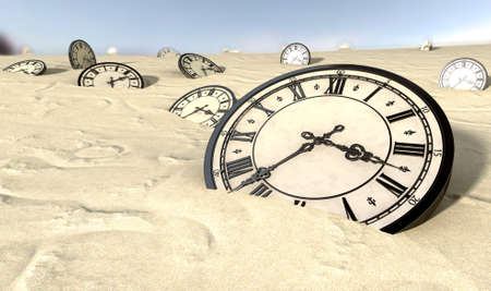 sands of time: An array of half buried antique clocks scattered across a sandy desert landscape under a blue sky