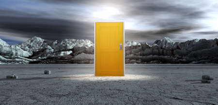 drab: An ominous barren landscape scene with a closed isolated yellow door in the centre under an ethereal spotlight