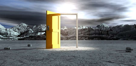 An ominous barren landscape scene with an open isolated yellow door in the centre under an ethereal spotlight photo