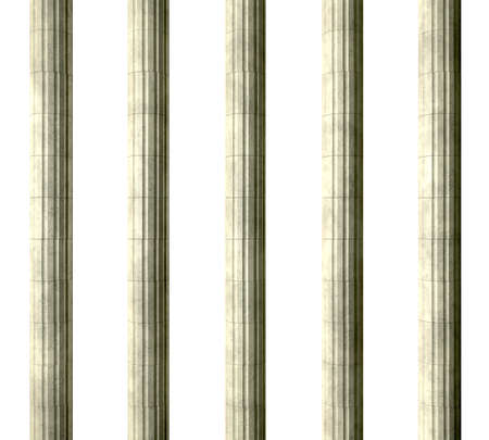 grecian: Five regular stone grecian pillars on an isolated background