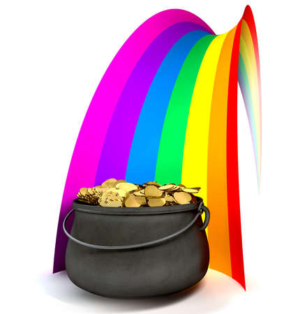 pot: A cast iron pot filled with gold coins at the end of a regular stylised rainbow on an isolated background Stock Photo