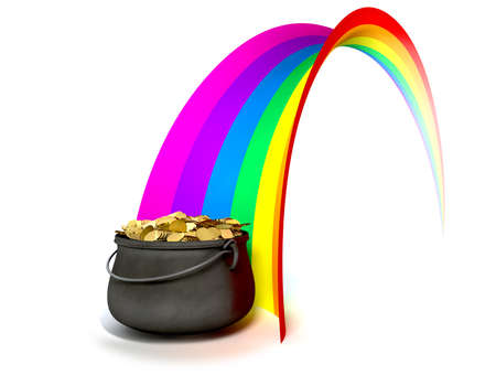 crock pot: A cast iron pot filled with gold coins at the end of a regular stylised rainbow on an isolated background Stock Photo
