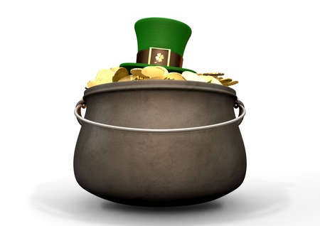 A cast iron pot filled with gold coins and a leprechaun top hat resting on top on an isolated background photo