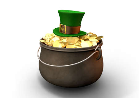 paddys: A cast iron pot filled with gold coins and a leprechaun top hat resting on top on an isolated background Stock Photo
