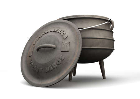 A regular cast iron potjie pot with a lid leaning against it that has the south african flag embossed on it on an isolated background photo