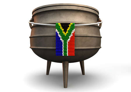 south african: A traditional cast iron potjie pot  and a zulu beaded south african flag hanging off a steel handle on an isolated background
