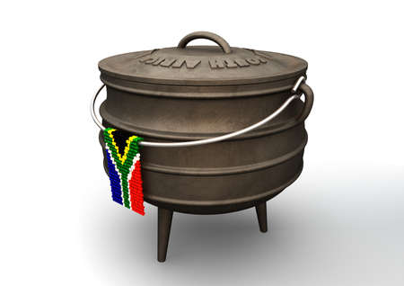 cast off: A traditional cast iron potjie pot  and a zulu beaded south african flag hanging off a steel handle on an isolated background