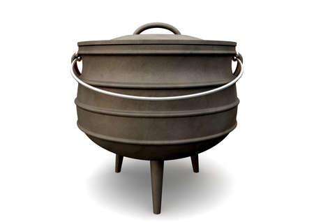 cast iron: A regular cast iron south african potjie pot with a steel handle and a lid on an isolated background