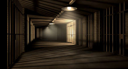 correctional facility: A corridor in a prison at night showing jail cells illuminted by various ominous lights