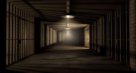 cellule prison: Un couloir dans une prison de nuit montrant des cellules de prison illuminted par diverses lumi�res inqui�tantes Banque d'images