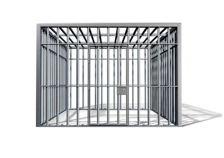 criminal act: A regular cube shaped holding cell on an isolated background
