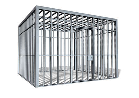 apprehend: A regular cube shaped holding cell on an isolated background
