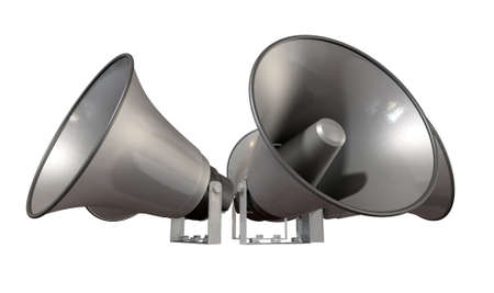 array: An array of five horn loudspeakers in a circle facing outwards on an isolated background