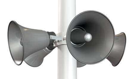 An array of five horn loudspeakers in a circle facing outwards mounted on a pole on an isolated background photo