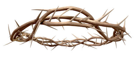 Branches of thorns woven into a crown depicting the crucifixion on an isolated background
